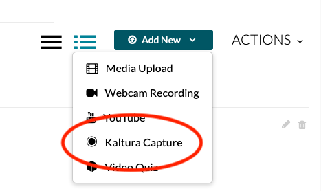 Click Kaltura Capture to open the desktop recorder